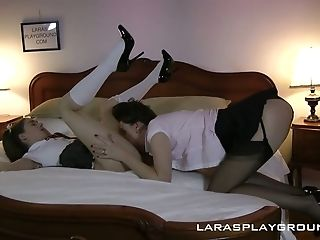 Naughty hottie Leyla Morgan is having dirty sex with mature bitch Lara