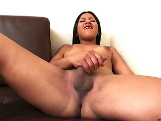 Deliciously filthy ladyboy Stephany Alejandra loves jerking off on camera