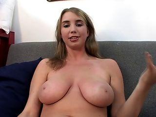 Shaved pussy babe licking massive balls seductively