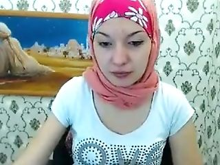 Attractive arabic girl on cam stripping masturbating and na