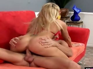 Fake tittied blonde Brooke Haven is fucked by horny bald headed dude
