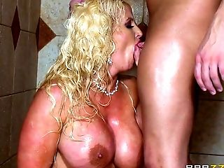 Cougar mom fucked in the shower by uch younger hunk
