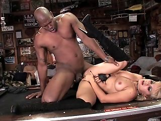 Bar whore shared by two guys takes cock in all her holes