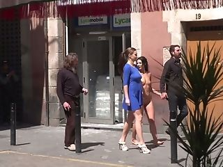 Stunning nude babe Tina Kay is walking down the street