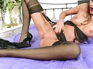 Kinky brunette Tina Kay finger fucks her wet pussy in vintage nylons satin panties and black lingerie