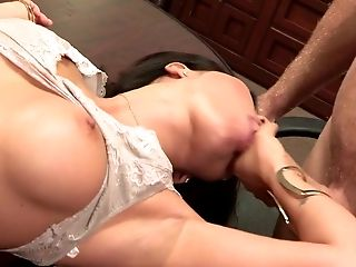Asian bimbo Asa Akira gets her shaved cunt hammered on the table