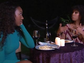 Gorgeous ebony lesbians Misty Stone and Chanell Heart lick each other