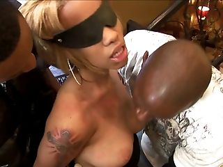 Breathtaking blonde with natural tits yelling while being gangbanged hardcore