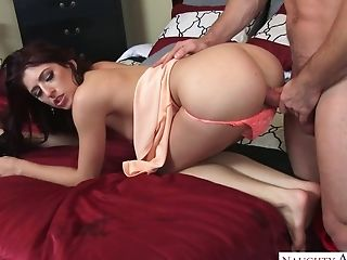 Pretty brunette with juicy bubble ass gives a blowjob and gets poked doggy