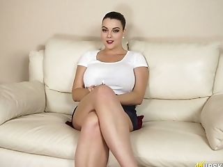 British BBW Cherry Blush spreads legs wide and shows pussy upskirt