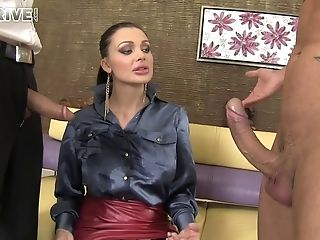 Busty pornstar Aletta Ocean fucked by two horny dudes in threesome