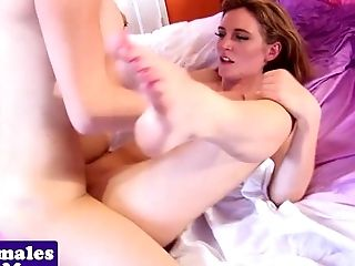 Pierced tgirl pussyfucking and fingering girl