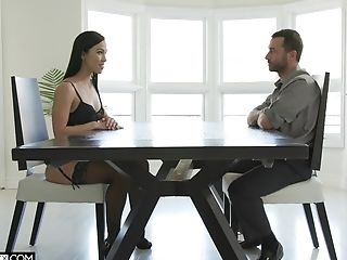Kinky sweetie in black tights Diana Grace is fucked missionary rough