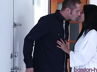Tanned sexiness Anissa Kate is on top of her passionate fucker