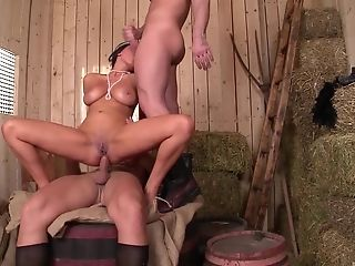 Classy Anissa Kate having fun with two throbbing wieners in her holes