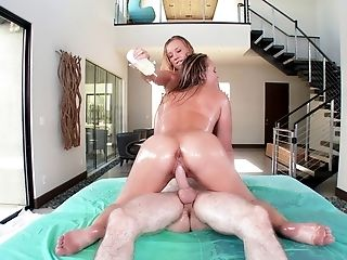 Two lustful oiled babes and the thick dick of their wild dreams