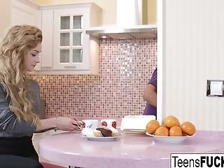 Blonde cutie Sonia takes a cock in the kitchen