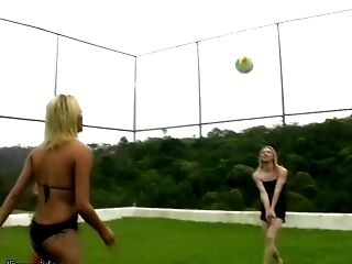 Graceful blonde shemales hammering each other outdoor