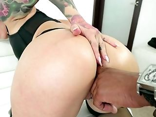 Pale tattooed really wild nympho Katrina Jade gets her anus licked by black stud