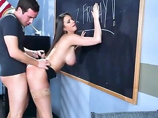 Spicy teacher fucks young student in rough classroom scenes