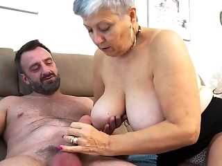 Short haired mature granny Savana pounded doggy style by a fat cock