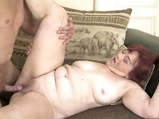 Old nanny Marsha enjoys having dirty sex with one young dude
