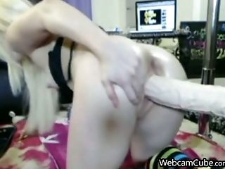 Lustful Blonde Woman With A Toy