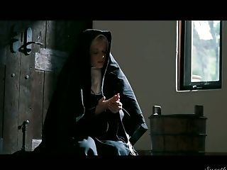 Sinfully beautiful babe Charlotte Stokely gets intimate with two sex-starved nuns
