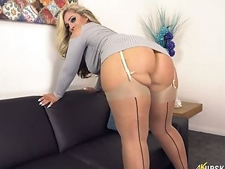 Killing hot British milf Kellie OBrian shows off her white panties upskirt