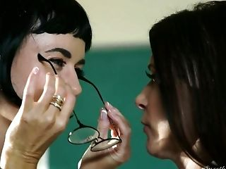Sexy long haired professor India Summer lures nerdy colleague for sex