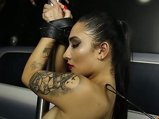 Tied up chick Julieth Timote moans while a stranger fucks her