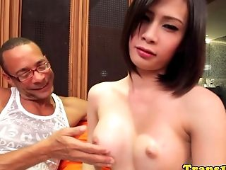 Lingerie ladyboy in stockings cockrides