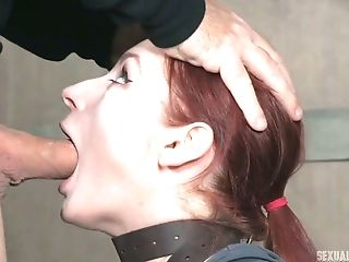 Slutty red head Violet Monroe gets her throat fucked hard