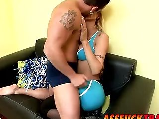 Blonde cheerleader tranny Celeste enjoys a hardcore sex