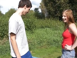 Alluring teen Charlotte is fucked by her boyfriend outdoor