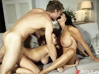 Ashley Adams, Big Tits, Blowjob, Brunette, Doggystyle, FFM, Fingering, Friend, Hardcore, MILF,
