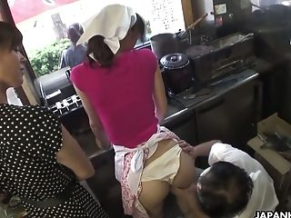 Cute and submissive Japanese young chick groped and toyed at work