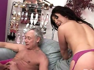 Two whorish raven haired hotties have stout 4 some with old stud and his kinky young buddy