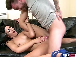 Sizzling brunette Carmel Cox guzzles dick and rides dick with finger in her anal hole