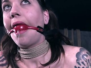 Skinny tattooed slut babe Rocky Emerson abused in the dungeon